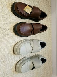 three pairs of black and brown leather loafers Orange, 92869