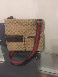 Brown and black messenger gucci tote bag