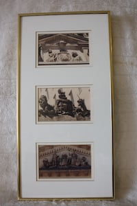 3 framed pictures of Carvings by Joseph Brydone on Toronto buildings Burlington