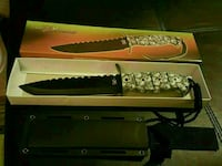 black and white combat knife in box