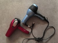 two red and gray corded hair dryers
