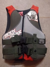 gray and red life vest