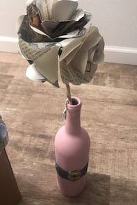 Distressed painted wine bottle with paper flowers  Fargo, 58104
