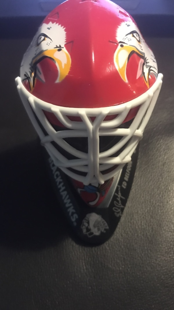 1996-97 mcdonalds mini goalie mask chicago blackhawks ed belfour #30 vintage