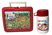 THERMOS Brand 1990 WHERES WALDO ? Red Plastic Lunchbox with Thermos Clarksville