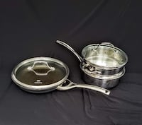"Calphalon Set, 10"" Nonstick Pan with lid #1390, 2 1/2 Qt Tri-Ply Pan with lid #87822, and Steaming Basket Hampton"