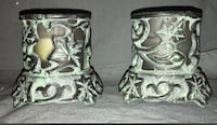 PartyLite Wrought iron vintage candle holders  W glass votive holder. Bear, 19701