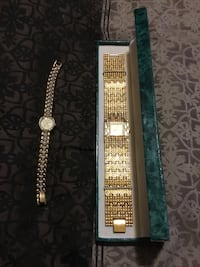 square analog watch with gold-colored link bracelet Laurens, 29360
