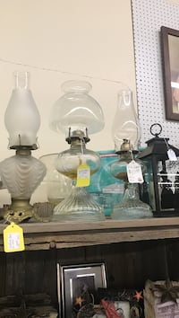 Oil lamps 2 @17.50 & 1 @$20 booth e14 flying moose antique mall 9223 w Kellogg  Wichita, 67209