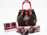 pink-trimmed Louis Vuitton Monogram Canvas bucket bag with matching mules and long wallet