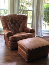 brown leather sofa chair with ottoman Columbia, 29212