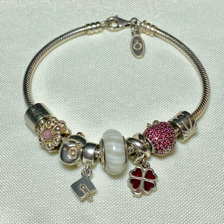 Genuine Pandora Sterling Silver Charm Bracelet with 8 Sterling Charms