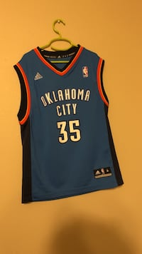 blue and black OKC #35 Kevin Durant jersey