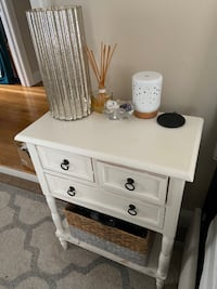 White Bed Side Table with storage