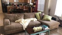 brown fabric sectional sofa with throw pillows Cypress, 77433