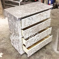 gray and white marble top 4-drawer chest Huddersfield