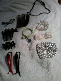 Bracelets and necklaces and hair things