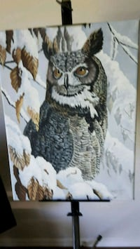 black and white owl painting Calgary, T2K 1A2