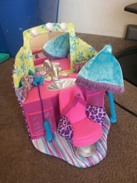 baby's pink and blue bouncer