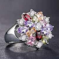 Gorgeous 925 silver multi-color Topaz flower ring
