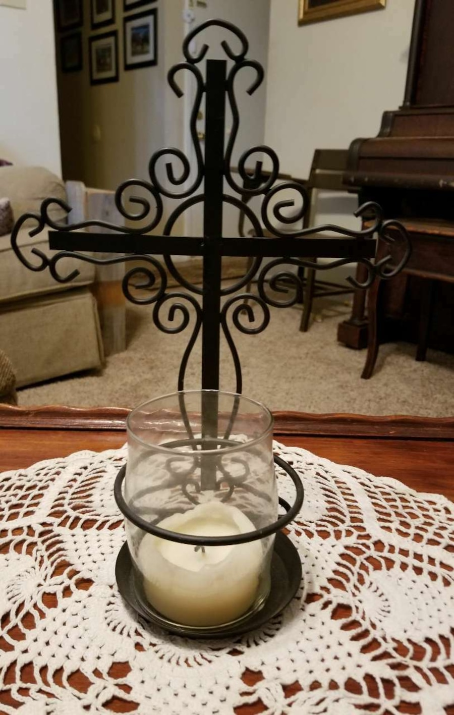 Decorative Cross with Candle