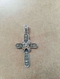 925 Sterling Silver Marcasite Cross Pendant