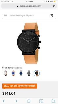 Round black chronograph watch with brown leather strap screenshot Shelby Township, 48316