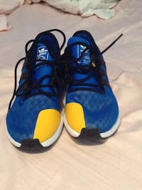 pair of blue-and-yellow Nike basketball shoes New York, 10029