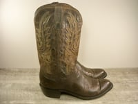 Lucchese Corbin Chocolate Leather Soft Mens Cowboy Western Boots 11 Maple Grove