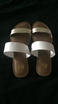 White-and-brown leather open-toe flat slide sandals 47 km