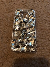 Silver-colored and diamond studded phone case Baytown, 77521