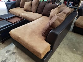 Sectional with storage ottoman and chaise lounge chair
