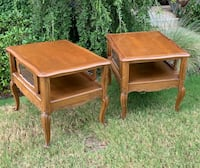 FIRM PRICE * Pair of Vintage Solid Wood French Provincial Side End Tables * Project Pieces Oklahoma City, 73012