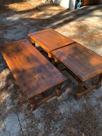 Wood coffee table and two end tables