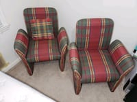 red and green plaid fabric sofa chair 505 mi