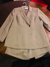 women's khaki notch-lapel 3-button suit jacket