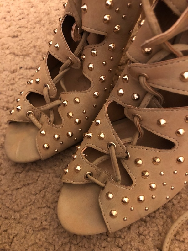 Tan ankle strap heels with gold studs  ef53e8d5-3a44-428a-b841-f67446536073