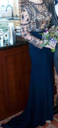 women's brown and blue long-sleeved top and blue maxi skirt outfit Lake Charles