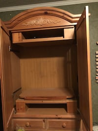 Wood lg tv stand with stairsge drawers