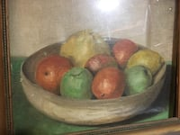 red, green, and yellow fruits painting with brown wooden frame