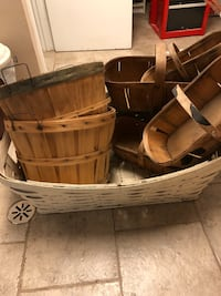 front porch fall decor. 3 Hard To Find VTG 6 Qt Canada Slat Wood Oblong Fruit Basket Wood Handle plus 1 smaller one. - maybe 3 qt Also rare 9 inch. Tall Half bushel - take for Fruit and apple baskets - great gift containers  And one very large white wicke