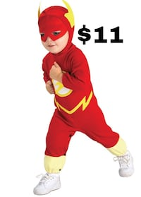 The flash kids costume Halloween   Size 2,3,4 T !!! Brand new not just a costume but can also be a Pijama for your kid. Super cute!! Make them run fast with this !   YOU MUST BRING EXACT CHANGE WHEN U PICK UP !!!!  Don't wait until the last minute get you Gardena, 90247