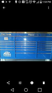blue and white metal tool cabinet