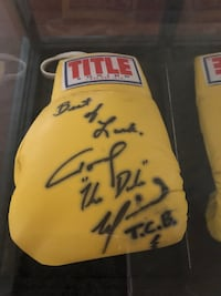 "Signed Tommy ""The Duke"" Morrison TCB  signed boxing glove Best of Luck in glass box case"