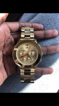 round gold Michael Kors chronograph watch with link bracelet Valley Stream, 11580