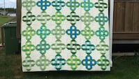 White, blue and green textile
