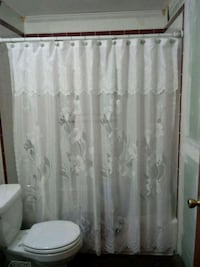ELEGANT SHEER FLORAL CUT SHOWER CURT.