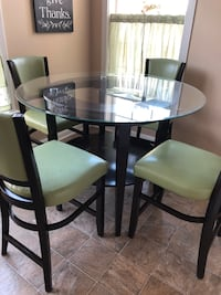 round glass top table with four chairs dining set 66 km