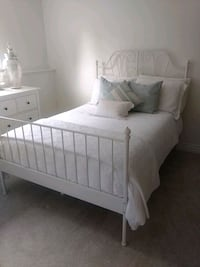 Ikea white metal frame double bed and mattress