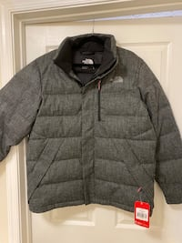 The North Face Men's size L. Black Tweed down parka. New! Severn, 21144